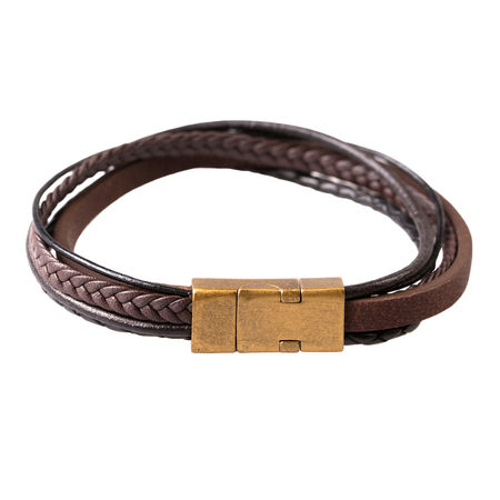 Hematite and Brown Leather Bracelet
