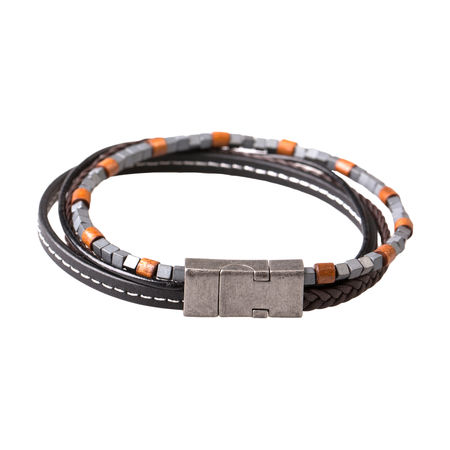 Steel & Black Leather Bracelet