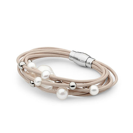 Cream Leather & Pearl Bracelet