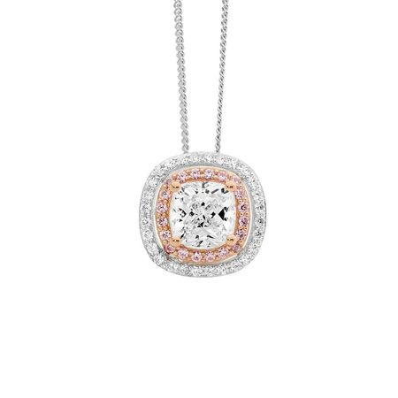 SS White and Pink CZ Double Halo Pendant